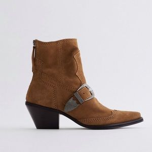 Zara leather buckled cowboy boots